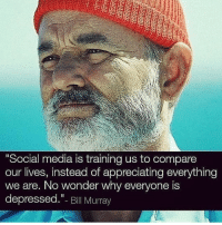 "Memes, Social Media, and Bill Murray: Social media is training us to compare  our lives, instead of appreciating everything  we are, No wonder why everyone is  depressed.""- Bill Murray ‼️FOCUS 💯"
