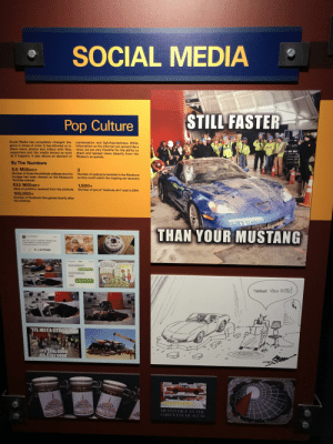 """Corvette Museum loves their roasts on """"social media"""": SOCIAL MEDIA  Pop Culture  STILL FASTER  Social Media has completely changed the conversation and lightheartedness. Whil  game in times of crisis, It has allowed us to  share news, photos and videos with fans, virus, we are very t  supporters and the media almost as soon share and spread news directly from the  formation on the internet c  spread like a  the abili  0  happens. It also allows an element of  Museum so quickly.  By The Numbers  8.5 Million+  Number of times the sinkhole collapse security  footage has been viewed on the Museum's  YouTube channel  $22 Million+  Value of publicity received from the sinkhole.  100,000+  Number of Facebook fans gained shortly after  the sinkhole  3  Number of webcams installed in the Skydome  so fans could watch the ong  oing car recovery  1,500+  Number of jars of """"sinkhole dirt"""" sold in 2014.  THAN YOUR MUSTANG  THANK You GOD!  S JUST A LITTLED  ITS STILLGOOD  ITS STILL GOOD Corvette Museum loves their roasts on """"social media"""""""
