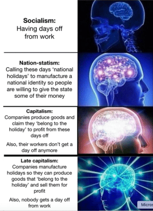 Money, Work, and Capitalism: Socialism:  Having days off  from work  Nation-statism:  Calling these days 'national  holidays' to manufacture a  national identity so people  are willing to give the state  some of their money  Capitalism:  Companies produce goods and  claim they 'belong to the  holiday' to profit from these  days off  Also, their workers don't get a  day off anymore  Late capitalism:  Companies manufacture  holidays so they can produce  goods that 'belong to the  holiday' and sell them for  profit  Also, nobody gets a day off  from work  Micros