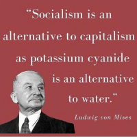 """Socialism (in theory) was demolished and laid to rest by Ludwig von Mises. He did the thinking, and printed it for everyone who wants to know the truth.  Intellectually, Socialism is as dead as a doornail.  Socialism (in practice) has killed hundreds of millions of people. Not from wars, mind you...just pure Socialistic economic (which are really un-economic) policies.  The starvation continues to this very day around the world. It's a repeating cycle.  Why do failed ideas stick around?  Well, something being false doesn't prevent people from wishing it were true.  The ideas of Socialism are kept alive by the perpetual desire to get something for nothing.   A great number of people have this desire, and politicians exploit it.  It's really that simple.: Socialism is an  alternative to capitalismm  as potassium cvanide  is an alternative  to water.""""  Ludwig von Mises Socialism (in theory) was demolished and laid to rest by Ludwig von Mises. He did the thinking, and printed it for everyone who wants to know the truth.  Intellectually, Socialism is as dead as a doornail.  Socialism (in practice) has killed hundreds of millions of people. Not from wars, mind you...just pure Socialistic economic (which are really un-economic) policies.  The starvation continues to this very day around the world. It's a repeating cycle.  Why do failed ideas stick around?  Well, something being false doesn't prevent people from wishing it were true.  The ideas of Socialism are kept alive by the perpetual desire to get something for nothing.   A great number of people have this desire, and politicians exploit it.  It's really that simple."""