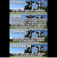 LIKE & TAG YOUR FRIENDS ------------------------- 🚨Partners🚨 😂@the_typical_liberal 🎙@too_savage_for_democrats 📣@the.conservative.patriot Follow: @rightwingsavages & @allamericansmokeshows Like us on Facebook: The Right-Wing Savages Follow my backup page @tomorrowsconservatives -------------------- conservative libertarian republican democrat gop liberals maga makeamericagreatagain trump liberal american donaldtrump presidenttrump american 3percent maga usa america draintheswamp patriots nationalism sorrynotsorry politics patriot patriotic ccw247 2a 2ndamendment socialism communism socialismsucks: SOCIALIST  YOU HAVE TWO COWS THE GOVERNMENT  TAKES ONE AND GIVES IT TO YOUR NEIGHBOR  LIBERAL  VOU HAVETWOCOWS YOUR NEIGHBOR HAS NONE  YOU FEELIGUILTY SO YOU VOTE PEOPLE INTOOFFICE  THAT TAK YOUR  COWS, FORCING YOU TO SELL ONE  TO PAY THE TAKATHE PEOPLE YOU VOTED FOR THEN  USE YOUR TAX MONEY TO BUY A COW AND GIVEIT  TO YOUR NEIGHBOR, YOU FEEL RIGHTEOUS  COMMUNIST  YOU HAVETWO COWS. THE GOVERNMENT  SEIZES BOTH AND PROVIDES YOU WITH  A CUP OF MILK PER DAY  CONSERVATIVE  YOU HAVE Two cows YOUSELLONE BUY  ABULLAND BUILD A HERD OF COWS LIKE & TAG YOUR FRIENDS ------------------------- 🚨Partners🚨 😂@the_typical_liberal 🎙@too_savage_for_democrats 📣@the.conservative.patriot Follow: @rightwingsavages & @allamericansmokeshows Like us on Facebook: The Right-Wing Savages Follow my backup page @tomorrowsconservatives -------------------- conservative libertarian republican democrat gop liberals maga makeamericagreatagain trump liberal american donaldtrump presidenttrump american 3percent maga usa america draintheswamp patriots nationalism sorrynotsorry politics patriot patriotic ccw247 2a 2ndamendment socialism communism socialismsucks