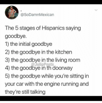 For real 😂 MexicansProblemas: @SoDamnMexican  The 5 stages of Hispanics saying  goodbye.  1) the initial goodbye  2) the goodbye in the kitchen  3) the goodbye in the living room  4) the goodbye in th doorway  5) the goodbye while you're sitting in  your car with the engine running and  they're still talking For real 😂 MexicansProblemas
