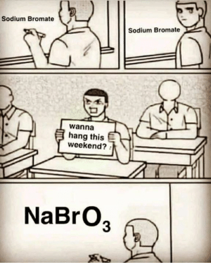 Memes, 🤖, and Weekend: Sodium Bromate  Sodium Bromate  wanna  hang this  weekend?  NaBrO3