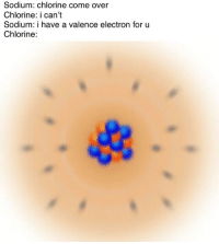 Chemistry Memes: Sodium: chlorine come over  Chlorine: i can't  Sodium: i have a valence electron for u  Chlorine: