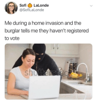 Home, MeIRL, and Invasion: Sofi LaLonde  @SofiLaLonde  Me during a home invasion and the  burglar tells me they haven't registered  to vote meirl