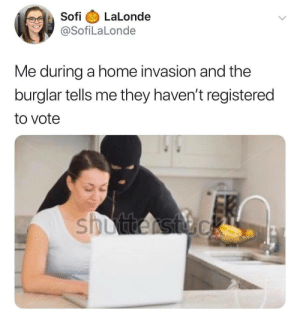 Dank, Memes, and Target: Sofi LaLonde  @SofiLaLonde  Me during a home invasion and the  burglar tells me they haven't registered  to vote meirl by TwesTo MORE MEMES