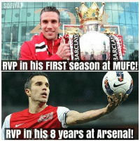 Arsenal, Memes, and 🤖: SOFIVAZ  RVP in his FIRST Season at MUFC!  RVP in his 8 years at Arsenal! The difference...