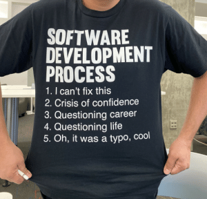 Literally the life we all live.: SOFTWARE  DEVELOPMENT  PROCESS  1. I can't fix this  2. Crisis of confidence  3. Questioning career  4. Questioning life  5. Oh, it was a typo, cool Literally the life we all live.