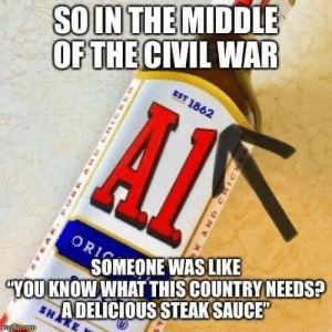 "I mean.. It's kinda important though: SOIN THE MIDDLE  OF THE CIVIL WAR  EST 1862  ORI  SOMEONE WAS LIKE  A DELICIOUS STEAK SAUCE""  SHAKE  YOU KNOW WHAT THIS COUNTRY NEEDS?  inglip.com  AND CHIC I mean.. It's kinda important though"
