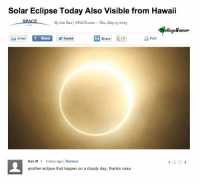 ken m: Solar Eclipse Today Also Visible from Hawaii  SPACE  B Joe Rao | SPACE.com-Thu, May 9,2013  ollegeHumor  Emai  Twoot in Share  Print  f Share  Ken M 5 days ago | Remove  another eclipse that happen on a cloudy day, thanks nasa