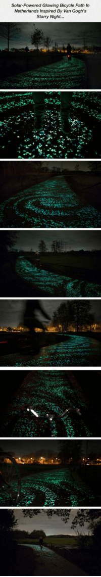 Tumblr, Bicycle, and Blog: Solar-Powered Glowing Bicycle Path In  Netherlands Inspired By Van Gogh's  Starry Night... epicjohndoe:  Glowing Bicycle Path