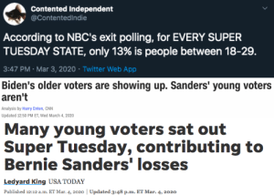 "solarpunkcast:  wtfisgoingonews:   ""sat out"" You mean young people who work shit jobs with shit hours and shit benefits couldn't get out of work to go vote in the same numbers as the retired crowd? 6 hours to vote at colleges in Texas yesterday in the middle of midterms yeah shocking…    Before you go around blaming your peers or ""the youth"" you better ask yourself why low voter turnout might be, in a country with a history predicated on voter suppression : solarpunkcast:  wtfisgoingonews:   ""sat out"" You mean young people who work shit jobs with shit hours and shit benefits couldn't get out of work to go vote in the same numbers as the retired crowd? 6 hours to vote at colleges in Texas yesterday in the middle of midterms yeah shocking…    Before you go around blaming your peers or ""the youth"" you better ask yourself why low voter turnout might be, in a country with a history predicated on voter suppression"