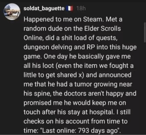 "Dude, Shit, and Steam: soldat_baguette 18h  Happened to me on Steam. Met a  random dude on the Elder Scrolls  Online, did a shit load of quests,  dungeon delving and RP into this huge  game. One day he basically gave me  all his loot (even the item we fought a  little to get shared x) and announced  me that he had a tumor growing near  his spine, the doctors aren't happy and  promised me he would keep me on  touch after his stay at hospital. I still  checks on his account from time to  time: ""Last online: 793 days ago"". wholesome gamer"