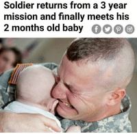 Lol, Memes, and Best: Soldier returns from a 3 yeair  mission and finally meets his  2 months old baby  000 LOL 😂😂 @donny.drama is the best account you're not following