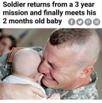 Instagram, Meme, and Old: Soldier returns from a 3 year  mission and finally meets his  2 months old baby。。@@ @pubity was voted 'best meme account on instagram' 😂