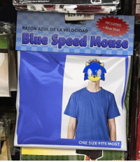 Video Games, Blue, and Time: SOLDSEPARATEL  INCLUDES:  RATON AZUL DE LA VELOCIDAD  Blue Shirt  Speed Moose  ONE SIZE FITS MOST Found my costume just in time