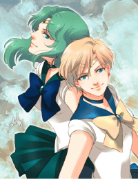 Love, Paintings, and Target: soleil7775:  I just got back from my class and feel like to draw fanart.All my homework are paintings so I'm kinda tired of painting and wanted to do some quick coloring.So here are Sailor Neptune and Uranus. They are one of my favorite 3(Actually, I love all Sailors. But I love Venus the most! 3 ) Well, so who's your favorite Sailor?? An hour of productiveness again~  If I have time tonight, I'll do another set of GB keychains~ kya~3
