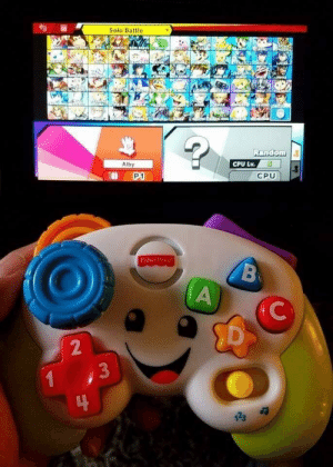 When your friend hands you an off-brand controller: Solo Battle  Alby  CPU Lv.5  P1  CPU  Fisher Price  2  3  123 a When your friend hands you an off-brand controller