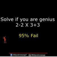 Genius: Solve if you are genius  2-2 X 3+3  95% Fail  /didyouknowpagel @didyouknowpage