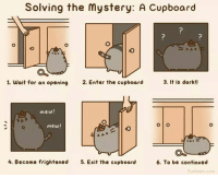 Pusheen: Solving the mystery: A Cupboard  3. It is dark!!  1. wait for an opening  2. Enter the cupboard  mew!  O O  mew!  4. Become frightened  5. Exit the cupboard  6. To be continued  Pusheen com Pusheen