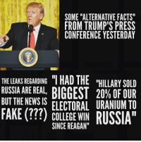 """Alternative Facts: SOME """"ALTERNATIVE FACTS""""  FROM TRUMP'S PRESS  CONFERENCE YESTERDAY  THE LEAKS REGARDING IHAD THE  """"HILLARY SOLD  RUSSIA ARE REAL,  BIGGEST 20% OF BUT THE NEWS IS  FAKE ELECTORAL URANIUM TO  COLLEGE WIN  RUSSIA""""  SINCE REAGAN"""""""