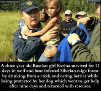 Russian Girl: Some Amazing Facts  A three year old Russian girl Karina survived for 11  days in wolf and bear infested Siberian taiga forest  by drinking from a creek and eating berries while  being protected by her dog which went to get help  after nine days and returned with rescures.