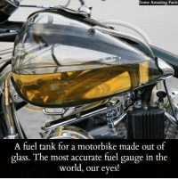 Facts, Memes, and World: Some Amazing Facts  Some Amazing Facts  A fuel tank for a motorbike made out of  glass. The most accurate fuel gauge in the  world, our eyes