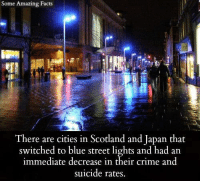 Crime, Facts, and Memes: Some Amazing Facts  There are cities in Scotland and Japan that  switched to blue street lights and had an  immediate decrease in their crime and  suicide rates
