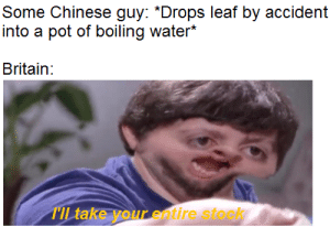 the history of tea in one picture: Some Chinese guy: *Drops leaf by accident  into a pot of boiling water*  Britain:  TIL take your entire stock the history of tea in one picture