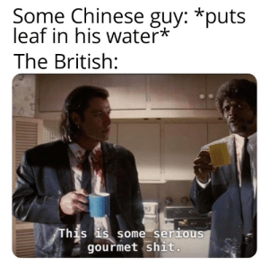 Dank, Memes, and Shit: Some Chinese guy: *puts  leaf in his water*  The British:  his s some serious  gourmet shit Ill take your entire stock! by n1GG99 MORE MEMES