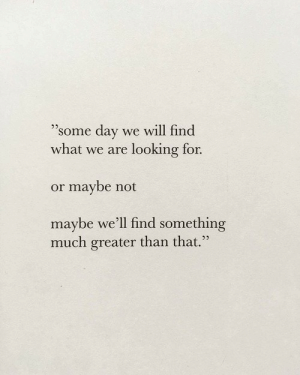 "Looking, Day, and Will: ""some day  we will find  what we are looking for  or maybe not  maybe we'll find something  much greater than that."""