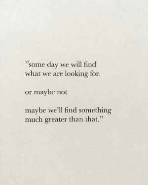 "Looking, Day, and Will: ""'some day we will find  what we are looking for.  or maybe not  maybe we'll find something  much greater than that."""