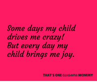 Driving, Memes, and Drive: Some days my child  drives me crazy!  But every day my  child brings me joy  THAT'S ONE awealome MOMMY So true, today was one of these days. Still love the little booger though lol.