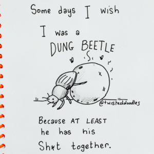 Dung Beetle,  Days, and Wish: Some days T wish  Was a  DUNG BEETLE  @tuisheololoodle s  becavse AT LEAS T  he has his  ogether.