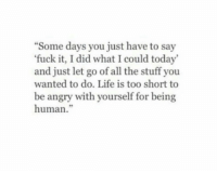 Life, Fuck, and Stuff: Some days you just have to say  fuck it, I did what I could today  and just let go of all the stuff you  wanted to do. Life is too short to  be angry with yourself for being  human.