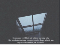 Precious, Lost, and Sad: Some days, you'll feel sad without knowing why  Like you lost something very precious but forgot what it was,  or you miss someone you never met.