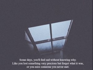 Precious, Lost, and Sad: Some days, you'll feel sad without knowing why.  Like you lost something very precious but forgot what it was,  or you miss someone you never met.