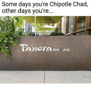 Chipotle, Sandwich, and Chad: Some days you're Chipotle Chad,  other days you're..  afreethememez  CaneraBR AD What? A Brad sandwich?