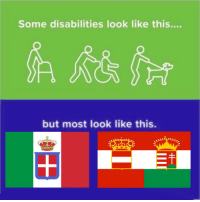 History, Enemies, and Look: Some disabilities look like this....  but most look like this.
