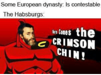 crimson chin: Some European dynasty: Is contestable  The Habsburgs:  tre tones the  CRIMSON  CHIN!