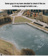 Break, Strong, and Car: Some guys in my town decided to check if the ice  is strong enough to hold a car... <p>Break The Ice.</p>