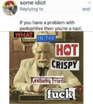 But seriously though: some idiot  Replying to  and  If you have a problem with  pedophiles then you're a nazi.  WHAT IN THE  НОT  CRISPY  Kentucky Fried  fuck  CLONEL IH But seriously though