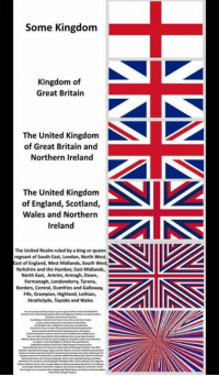 England, North West, and Queen: Some Kingdom  Kingdom of  Great Britain  The United Kingdom  of Great Britain and  Northern Ireland  The United Kingdom  of England, Scotland,  Wales and Northern  Ireland  The United Realm ruled by a king or queen  regnant of South East, London, North West,  East of England, West Midlands, South West  Yorkshire and the Humber, East Midlands  North East, Antrim, Armagh, Down,  Fermanagh, Londonderry, Tyrone,  Borders, Central, Dumfries and Galloway,  Fife, Grampian, Highland, Lothian,  Strathclyde, Tayside and Wales