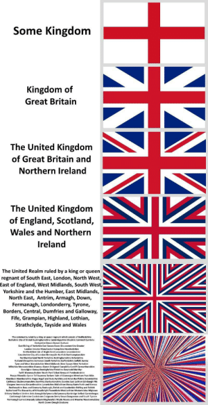 What you are reading now is text that tries to summarize in few words, less possible, the argument of the post thatyou are going to see down below: Some Kingdom  Kingdom of  Great Britain  The United Kingdom  of Great Britain and  Northern Ireland  The United Kingdom  of England, Scotland,  Wales and Northern  Ireland  The United Realm ruled by a king or queen  regnant of South East, London, North West,  East of England, West Midlands, South West,  Yorkshire and the Humber, East Midlands,  North East, Antrim, Armagh, Down,  Fermanagh, Londonderry, Tyrone,  Borders, Central, Dumfries and Galloway,  Fife, Grampian, Highland, Lothian,  Strathclyde, Tayside and Wales  The community ruled by a king or queen regnant which consist of Bedfordshire  Berkshire City of Bristol Buckinghamshire Cambridgeshire Cheshire Cornwall Cumbria  Derbyshire Devon Dorset Durham  East Riding of Yorkshire East Sussex Essex Gloucestershire Greater  London Greater Manchester Hampshire Herefordshire  re Isle of Wight Kent Lancashire Leicestershire  Lincolnshire City of London Merseyside Norfolk Northamptonshire  Northumberland North Yorkshire Nottinghamshire Oxfordshire  Rutland Shropshire Somerset South Yorkshire Staffordshire Suffolk Surrey  Tyne and Wear Warwickshire West Midlands West Sussex West Yorkshire  Wiltshire Worcestershire Blaenau Gwent Bridgend Caerphilly Cardiff Carmarthenshire  Ceredigion Conwy Denbighshire Flintshire Gwynedd Merthyr  Tydfil Monmouthshire Neath Port Taibot Newport Pembrokeshire  Powys Rhondda Cynon Taf Swansea Torfaen Vale of Glamorgan Wrexham Ynys Môn  Aberdeen Aberdeenshire Angus Argylla  Bute Ayrshire and Arran Banffshire Berwickshire  Caithness Clackmannanshire Dumfries Dunbartonshire Dundee East Lothian Edinburgh Fife  Glasgow Inverness Kincardineshire Lanarkshire Midlothian Moray Nairn Perth and Kinross  Renfrewshire Ross and Cromarty Roxburgh, Ettrick and Lauderdale Stirling and Falkirk  Sutherland The Stewartry of Kirkcudbright Tweeddale West Lothian Western Isles Wigtown  Orkney Shetland Antrim Ards Armagh Ballymena Ballymoney Banbridge Belfast Carrickfergus  Castlereagh Coleraine Cookstown Craigavon Derry Down Dungannon and South Tyrone  Fermanagh Larne Limavady Lisburn Magherafelt Moyle Newry and Mourne Newtownabbey  North Down Omagh Strabane What you are reading now is text that tries to summarize in few words, less possible, the argument of the post thatyou are going to see down below
