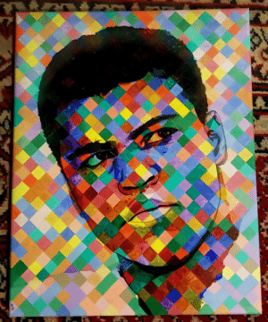 Some more social isolation art that took me weeks to paint. I present to you my hero, Muhammad Ali.: Some more social isolation art that took me weeks to paint. I present to you my hero, Muhammad Ali.