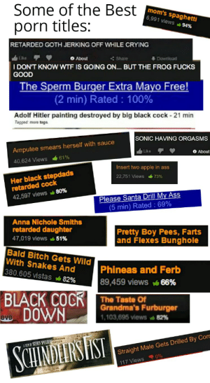 """All the titles are from """"pink guy raps absurd porn title """": Some of the Best  mom's spaghetti  6,991 views 94%  porn titles:  RETARDED GOTH JERKING OFF WHILE CRYING  O About  < Share  Download  I DON'T KNOW WTF IS GOING ON. BUT THE FROG FUCKS  GOOD  The Sperm Burger Extra Mayo Free!  (2 min) Rated : 100%  Adolf Hitler painting destroyed by big black cock - 21 min  Tagged: more tags  SONIC HAVING ORGASMS  Amputee smears herself with sauce  O About  Like  61%  40,624 Views  Insert two apple in ass  Her black stepdads  retarded cock  22,751 Views  73%  Please Santa Drill My Ass  (5 min) Rated : 69%  42,597 views 80%  Anna Nichole Smiths  retarded daughter  Pretty Boy Pees, Farts  and Flexes Bunghole  47,019 views 51%  Bald Bitch Gets Wild  With Snakes And  380.605 vistas 82%  Phineas and Ferb  89,459 views 66%  BLACK COCK  vo DOWN  The Taste Of  Grandma's Furburger  1,103,695 views 82%  sseis  A HEM NI STEWEN SPIELBERESIS  SCHINDEIRSHST  Straight Male Gets Drilled By Corr  117 Views 0% All the titles are from """"pink guy raps absurd porn title """""""