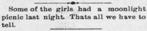 yesterdaysprint:   Arkansas City Daily Traveler, Kansas, February 26, 1896   : Some of the girls had a moonlight|  pienic last night. Thats all we have to  tell. yesterdaysprint:   Arkansas City Daily Traveler, Kansas, February 26, 1896