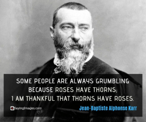 30 Optimism Quotes to Live Your Best Life #sayingimages #optimism #optimismquotes #quotes: SOME PEOPLE ARE ALWAYS GRUMBLING  BECAUSE ROSES HAVE THORNS  1 AM THANKFUL THAT THORNS HAVE ROSES  Jean-Baptiste Alphonse Karr  Sayinglmages.com 30 Optimism Quotes to Live Your Best Life #sayingimages #optimism #optimismquotes #quotes