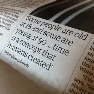 """Isten: Some people are old  lit  grand iPod  taw isten  Aple buying  he atest mitape, at 18 and some are  og musicians in  es. The punk  say  insp  that C  White,  """"I've  says. """"He  always  sho  teri young at 90... time  is a concept that  humans created'  sth  Yoko Ono (above)"""