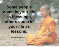 Buddhism: Some people  come in your life  as blessings,  others come in  your life as  lessons  e-buddhism com
